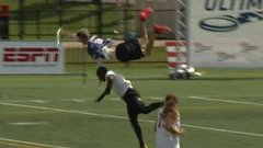 Ford Must See: Ultimate Frisbee player flies over defender for catch