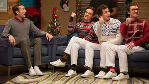The Lonely Island Wear Holiday Sweaters & White Pants