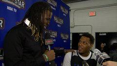 DeMarre Carroll interviews teammate Kyle Lowry