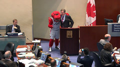 The Raptor crashes City Council meeting