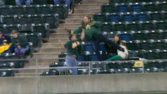 Must See: A's fan takes big spill backing up another fan who catches foul ball
